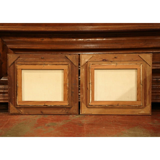 Pair of Mid-20th Century French Paris Paintings in Carved Frames Signed L. Dali For Sale - Image 11 of 12