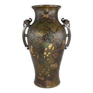 Japanese Meiji Large Antique Mixed Metals Birds & Flowers Bronze Baluster Vase For Sale