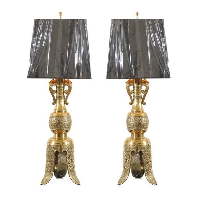 Majestic Pair of Mid-Century Brass Lamps with Spectacular Helmet Style Base For Sale - Image 11 of 11
