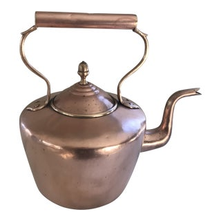 Antique Copper and Brass Tea Kettle For Sale