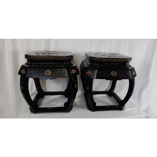 1950s Chinoiserie Jappaned Lacquered Side Tables - a Pair For Sale - Image 10 of 10