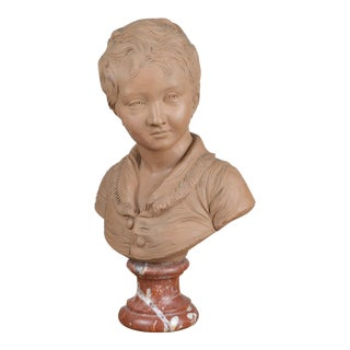 French 19th Century Terra Cotta Bust of a Boy After Houdon For Sale