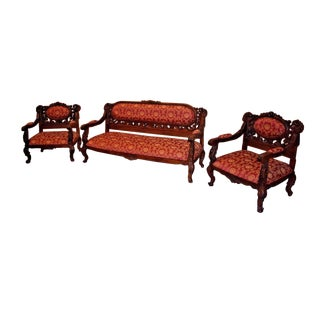 Red Carved Victorian Parlor Set - Set of 3