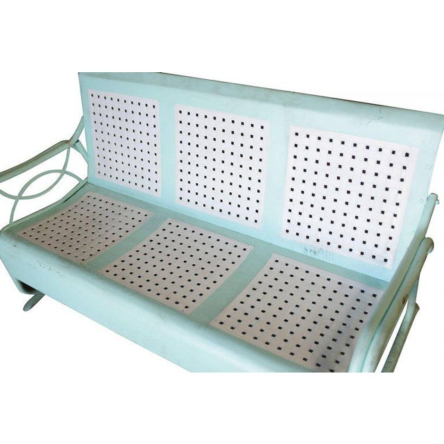 Mid-Century Woodard Style Three Person Steel Garden Lounge For Sale - Image 4 of 6