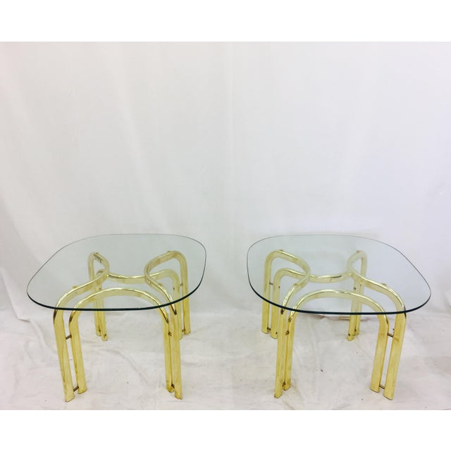 Mid-Century Modern Modern Brass Side Tables - A Pair For Sale - Image 3 of 11