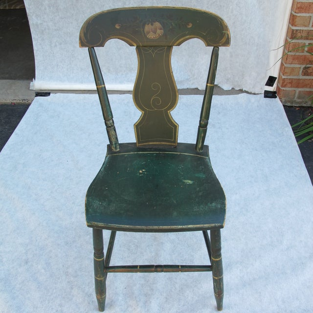 Antique Painted Pennsylvania Plank Chairs - S/6 - Image 3 of 11