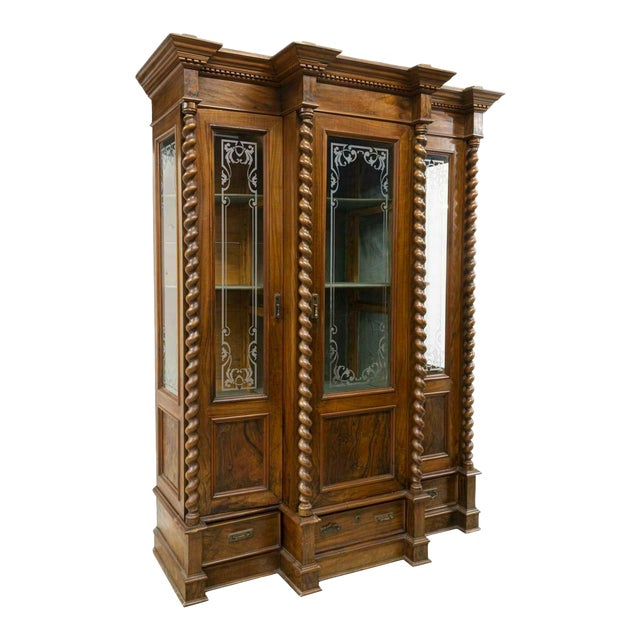 1800s Antique French Louis Philippe Twist Column Bookcase For Sale