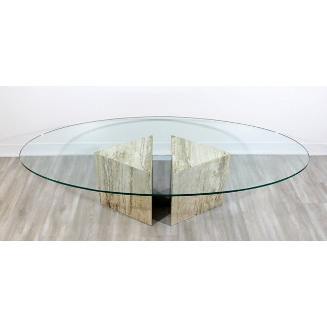 Mid-Century Modern Italian Marble Chrome Glass Surfboard Coffee Table, 1970s For Sale - Image 9 of 9