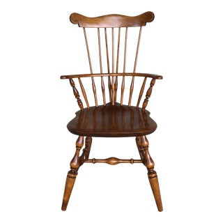 Nichols & Stone Old Pine Finish Solid Maple Windsor Brace Back Arm Chair For Sale