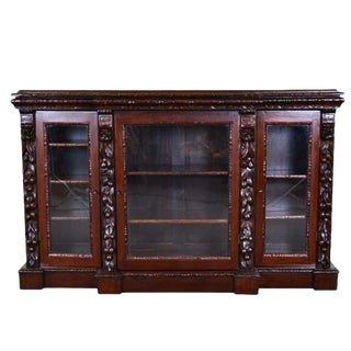 19th Century French Oak Bookcase Henry II Style With Glass Doors For Sale