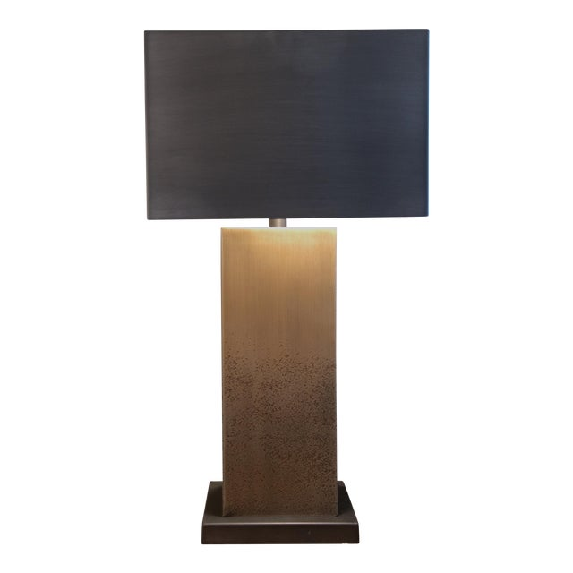 Square Bronze Table Lamp With Metal Shade - Image 1 of 7