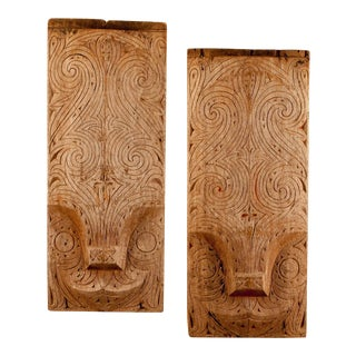 19th Century South Pacific Carved Plaques - a Pair For Sale