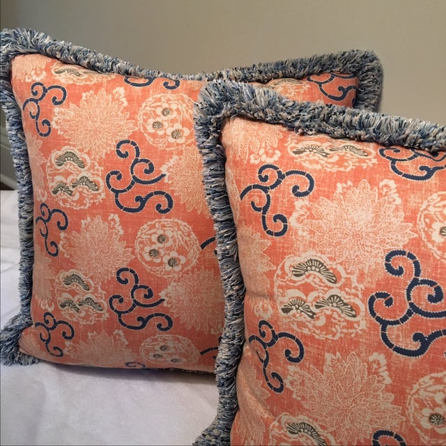 Quadrille Pillows with Samuel & Sons Trim - Pair - Image 6 of 8