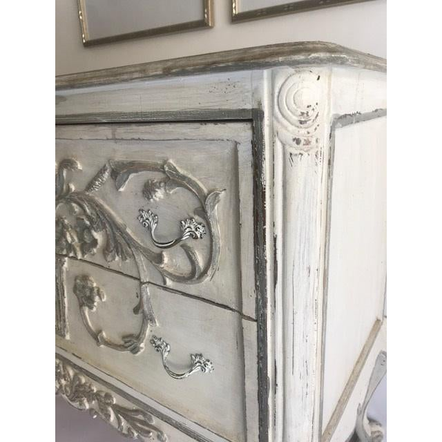 Lovely chest found at an estate sale in an affluent Dallas neighborhood. This beautiful chest is hand-painted in gray and...