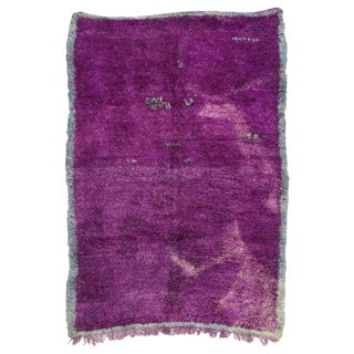 Late 20th Century Vintage Berber Moroccan Rug - 6′8″ × 9′5″ For Sale