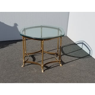 Vintage French Provincial Hexagon Brass Console Coffee Table W Hoof Feet Preview