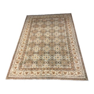 Persian Style Hand Knotted Gold & Cream Rug - 9′9″ × 7′ For Sale