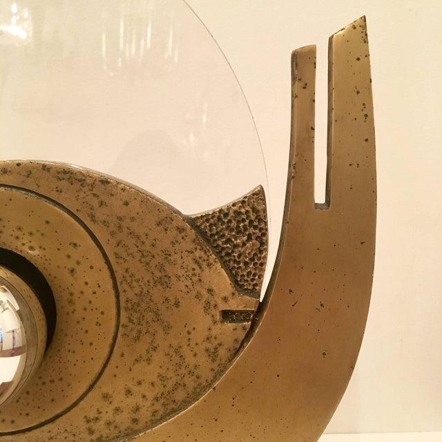 Mid-Century Modern 1960s Giuseppe Calonaci Bronze Sculpture Table Lamp For Sale - Image 3 of 8