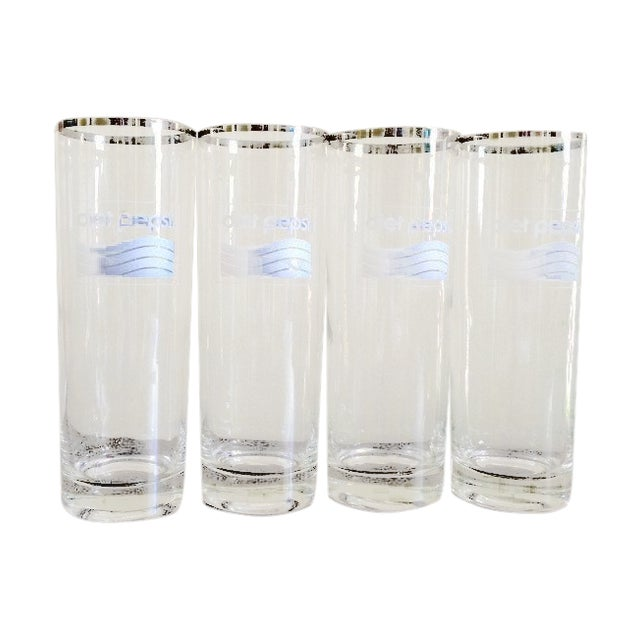 Silver Rimmed Diet Pepsi Glassware - Set of 4 - Image 1 of 4