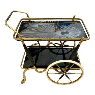 1950s Italian Aldo Tura Vintage Brass and Black Glass Bar Cart For Sale