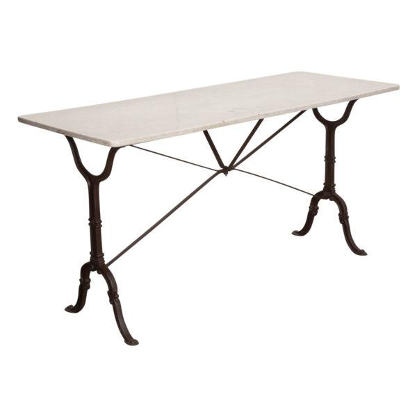 French Early 20th Century Long Marble Top Bistro Table For Sale - Image 9 of 9
