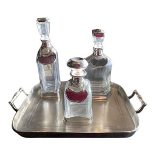 Vintage Glass and Italian Pewter Barware Set - 4 Pieces For Sale