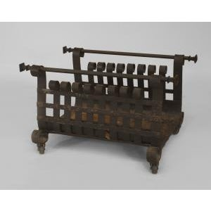 American Antique American Mission Style Wrought Iron Log Holder/Magazine Rack With Scroll Design Sides For Sale - Image 3 of 3