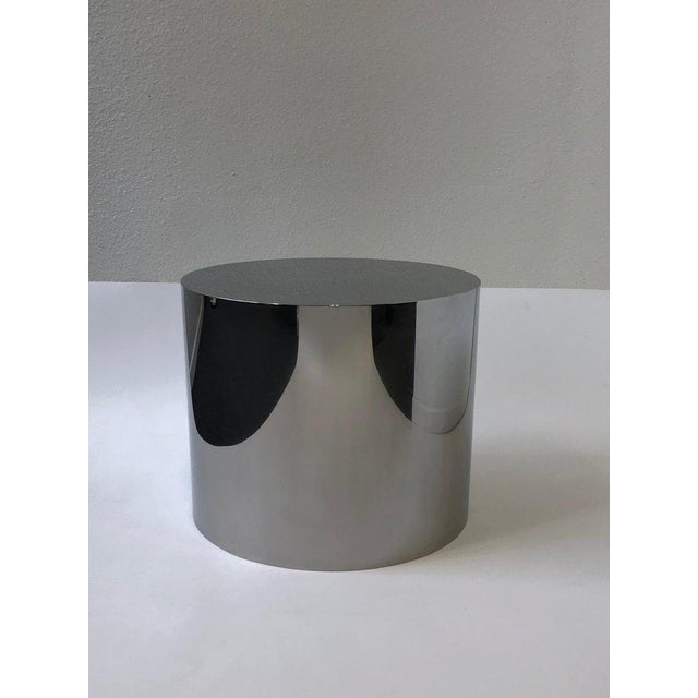 1980s 1980s Polish Stainless Drum Side Table by Brueton For Sale - Image 5 of 9