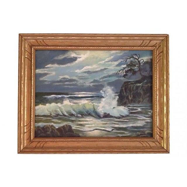 Coastal Seascape Oil Painting - Image 1 of 6