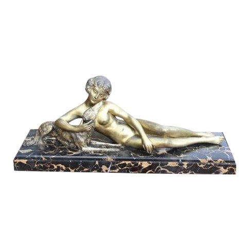French Art Deco Patinated Metal Sculpture of a Deco Lady and Her Dog, C1940's - Image 1 of 8