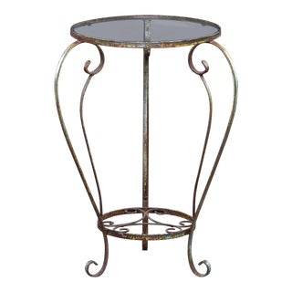 Small Round Side Table With Iron Frame and Glass Top For Sale