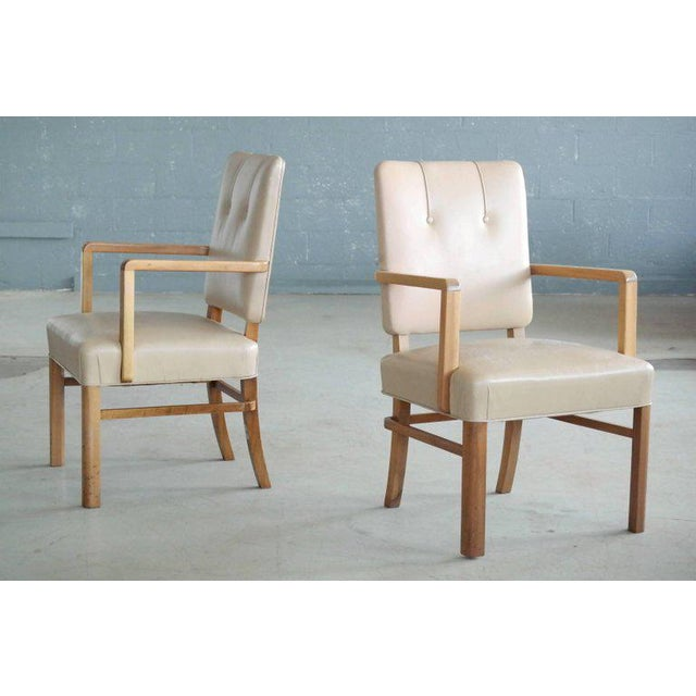 Mid-Century Modern Pair of Danish Midcentury Executive Desk or Side Chairs in Beige Leather For Sale - Image 3 of 9