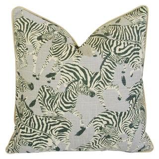 Designer Safari Zebra Linen & Velvet Feather/Down Pillow For Sale