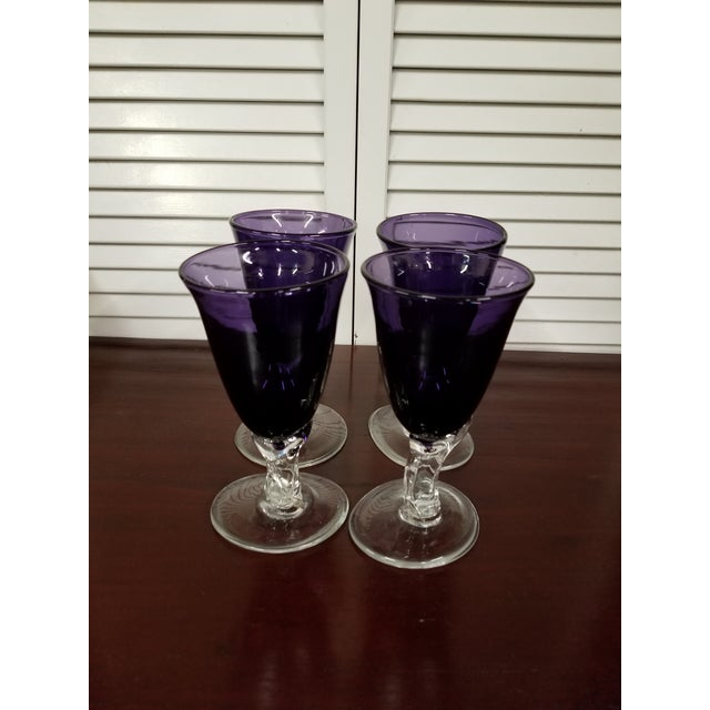 Contemporary Purple Beverage Glasses- Set of 4 For Sale - Image 3 of 6