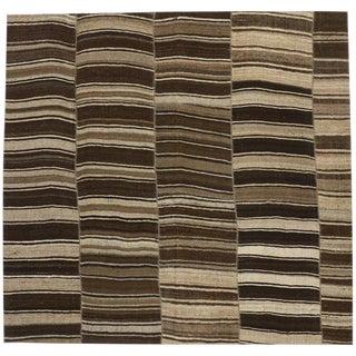 """Vintage Turkish Kilim Striped Rug- 9'6"""" X 9'1"""" For Sale"""