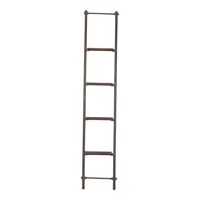English Brass and Mahogany Library Ladder For Sale