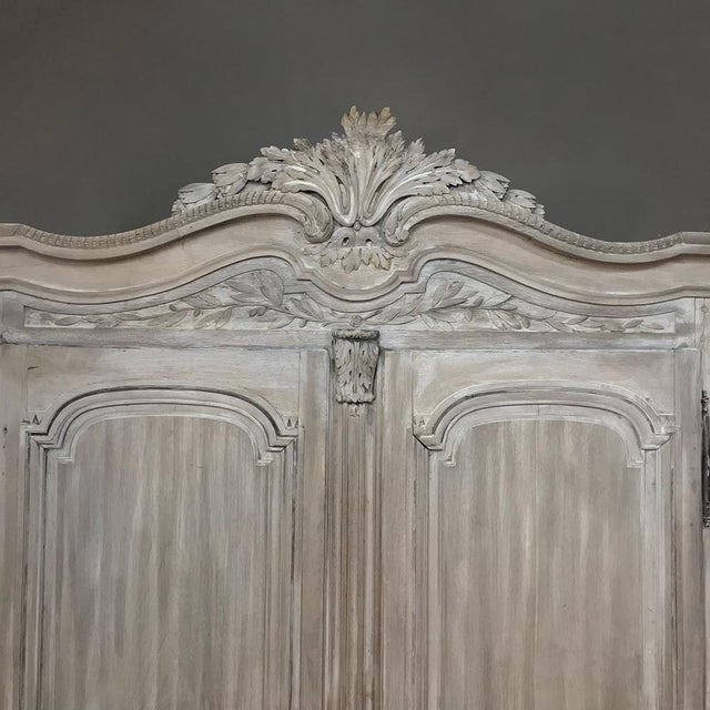 18th Century Country French Louis XVI Period Whitewashed Armoire For Sale In Baton Rouge - Image 6 of 12