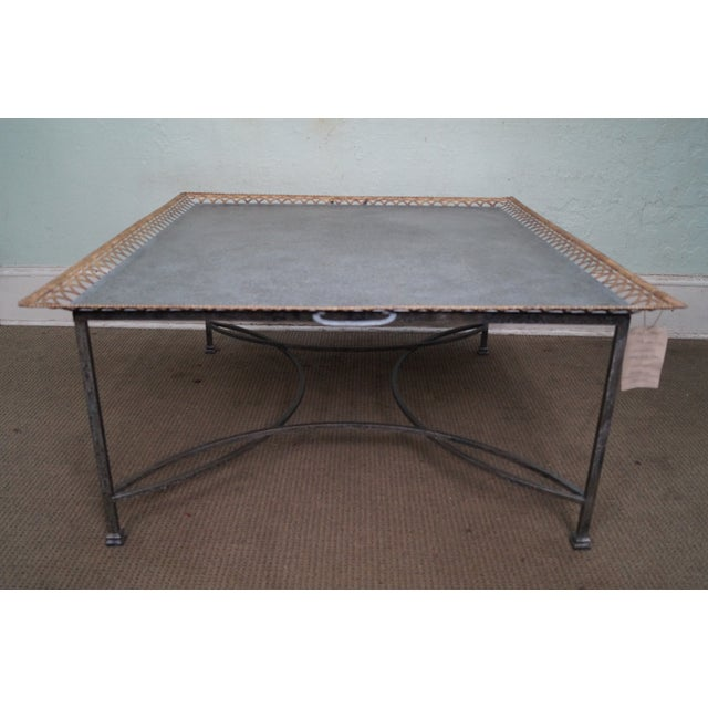 Niermann Weeks Large Regency Silver Leaf Tray Top Steel Frame Coffee Table For Sale - Image 10 of 10