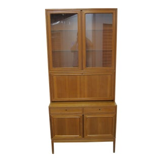 1960s Teak China Cabinet With Secretary Desk For Sale