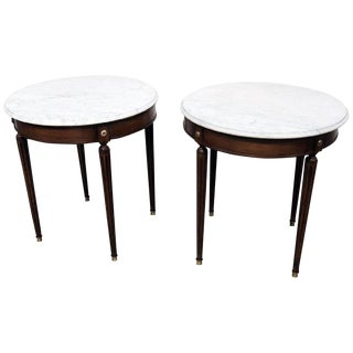 Louis XVI Style French Marble Top Tables - a Pair