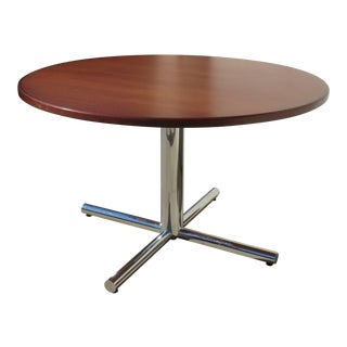 Vintage Round Chrome Base Dining Table / Break Table With Mahogany Top For Sale