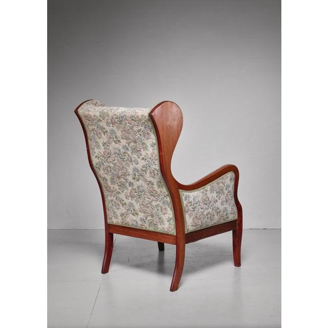Frits Henningsen Frits Henningsen Wingback Lounge Chair, Denmark, 1940s For Sale - Image 4 of 5