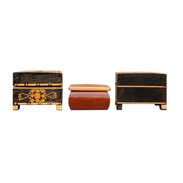 Mid 20th Century Bohemian Inlaid Trinket Boxes, Set of 3 For Sale - Image 5 of 9