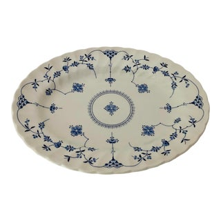 Vintage Blue & White Myott Finlandia Staffordshire Ware England Serving Platter For Sale