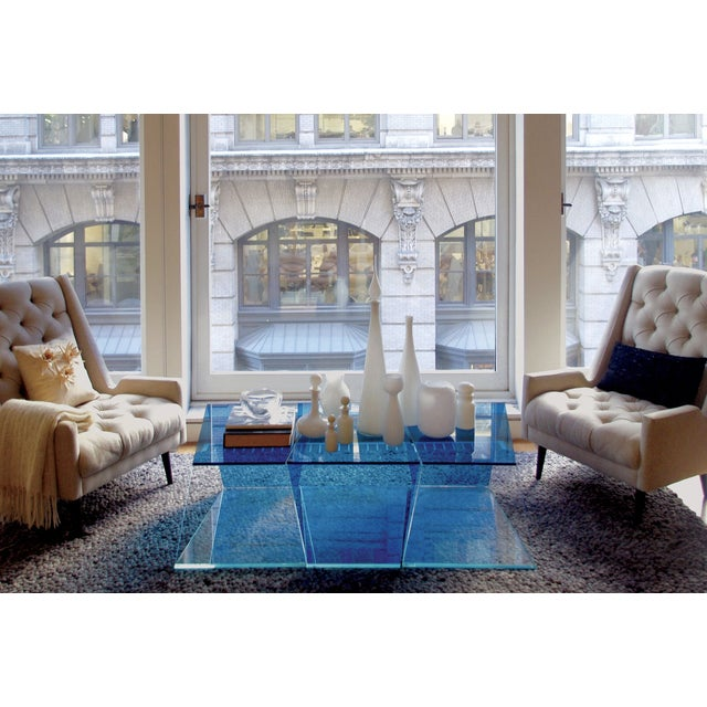 1970s Contemporary Geometric Blue and Clear Glass 3 Piece Coffee Table For Sale - Image 9 of 12