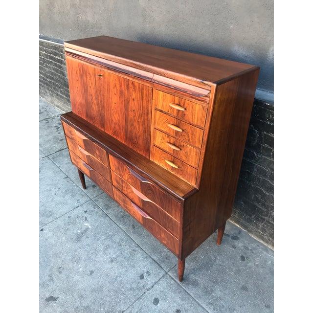 1960s Scandinavian Modern Erling Torvits for Klim Mobelfabrik Rosewood Secretary Desk For Sale - Image 11 of 13