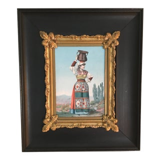 "Vintage "" Woman Carrying Water"" Carbon Print With Gold Gilded Frame"