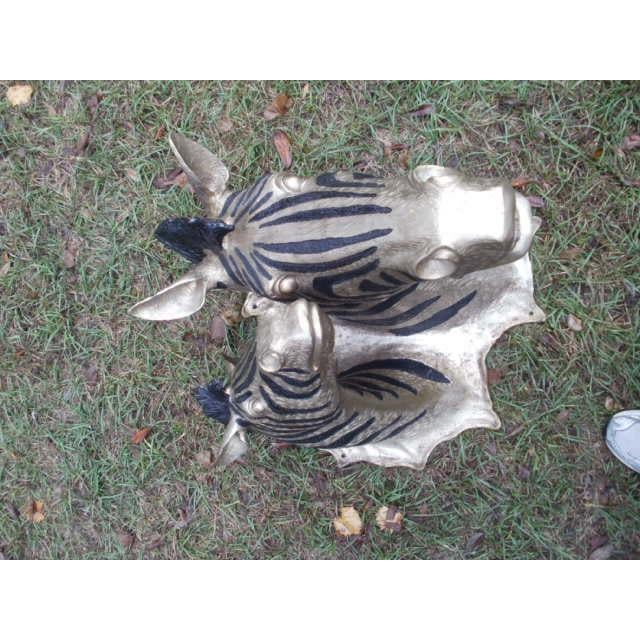 Zebra mother and baby, Cast Bronze with Black and gold finish...more gold looking than the photo looks.... Modern style...