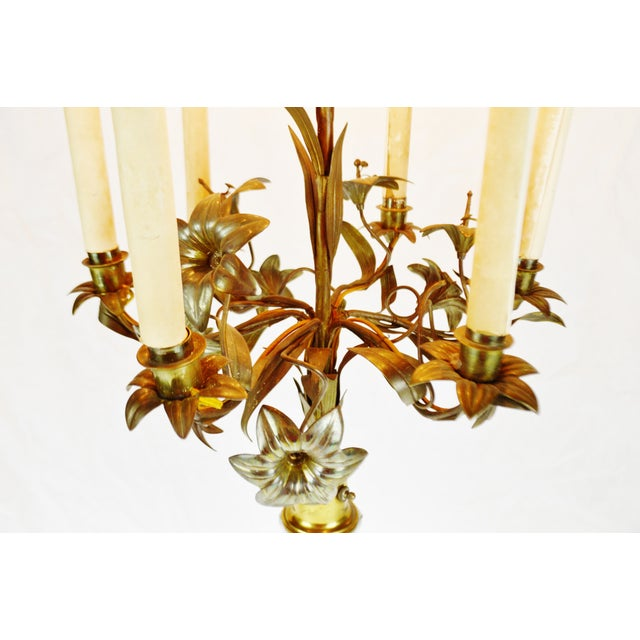 Antique Toleware Candelabra Table Lamp With Marble Base For Sale - Image 4 of 13