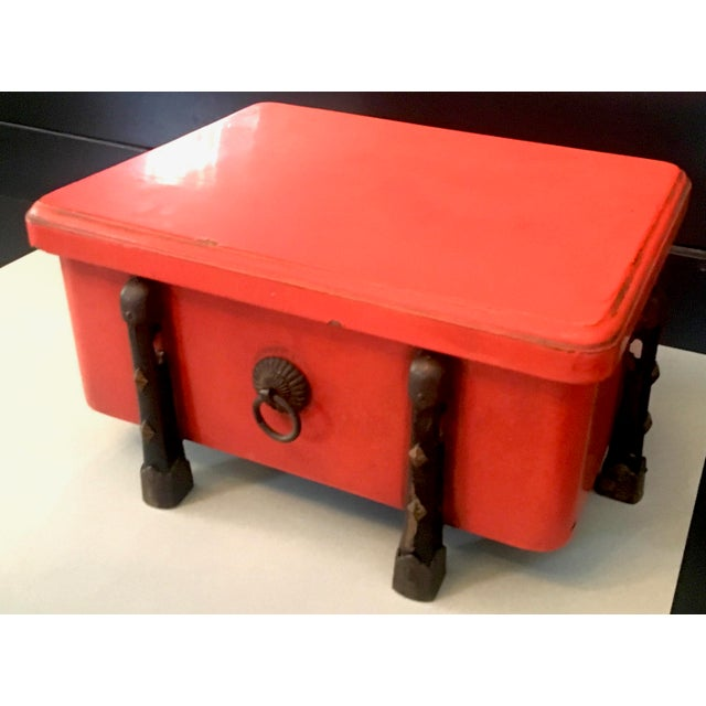 Asian Japanese Orange Lacquer With Wood and Brass Detailing Box For Sale - Image 3 of 4